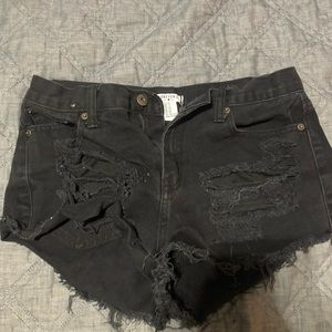 Ripped black Forever 21 jean shorts